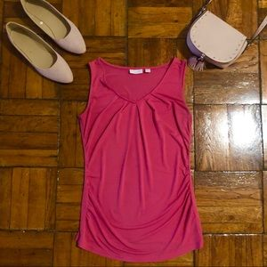 New York & Company Pink Roughed Scoop Neck Blouse